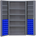 Durham DC36-48-4S6DS-5295 Heavy Duty Cabinet, lockable, 1 fixed shelf, 4 adjustable and 6 door shelves, 48 blue Hook-On-Bins, deep door style, gray