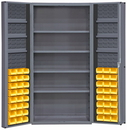 Durham DC36-48-4S6DS-95 Heavy Duty Cabinet, lockable, 1 fixed shelf, 4 adjustable and 6 door shelves, 48 yellow Hook-On-Bins, deep door style, gray