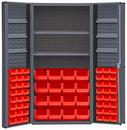 Durham DC36-642S6DS-1795 Heavy Duty Cabinet, lockable, 2 adjustable shelves and 6 door shelves, 64 red Hook-On-Bins, deep door style, gray