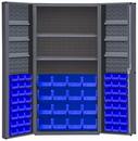Durham DC36-642S6DS-5295 Heavy Duty Cabinet, lockable, 2 adjustable shelves and 6 door shelves, 64 blue Hook-On-Bins, deep door style, gray