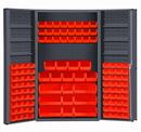 Durham DC48-114-6DS-1795 Heavy Duty Cabinet, lockable with 6 door shelves, 114 red Hook-On-Bins, deep door style, gray
