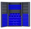 Durham DC48-114-6DS-5295 Heavy Duty Cabinet, lockable with 6 door shelves, 114 blue Hook-On-Bins, deep door style, gray