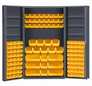 Durham DC48-114-6DS-95 Heavy Duty Cabinet, lockable with 6 door shelves, 114 yellow Hook-On-Bins, deep door style, gray