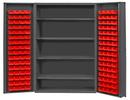 Durham DC48-128-4S-1795 Heavy Duty Cabinet, lockable with 4 adjustable shelves, 128 red Hook-On-Bins, deep door style, gray