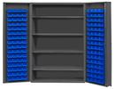 Durham DC48-128-4S-5295 Heavy Duty Cabinet, lockable with 4 adjustable shelves, 128 blue Hook-On-Bins, deep door style, gray