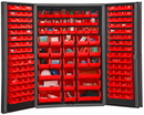 Durham DC48-176-1795 Heavy Duty Cabinet, 14 gauge steel, lockable cabinet, with 176 red Hook-On-Bins, deep door style, gray