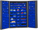 Durham DC48-176-5295 Heavy Duty Cabinet, 14 gauge steel, lockable cabinet, with 176 blue Hook-On-Bins, deep door style, gray