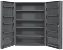 Durham DC48-4S12DS-95 Heavy Duty Cabinet, 14 gauge steel, lockable cabinet, 1 fixed shelf, 4 adjustable and 12 door shelves, deep door style, gray