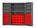 Durham DC48-842S6DS-1795 Heavy Duty Cabinet, lockable with 2 adjustable shelves and 6 door shelves, 84 red Hook-On-Bins, deep door style, gray