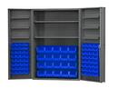 Durham DC48-842S6DS-5295 Heavy Duty Cabinet, lockable with 2 adjustable shelves and 6 door shelves, 84 blue Hook-On-Bins, deep door style, gray