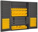 Durham DCBDLP694RDR-95 Heavy Duty Cabinet, lockable with 1 adjustable shelf and 12 door shelves, 69 yellow Hook-On-Bins, 4 drawers, flush door style, gray
