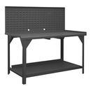Durham DWB-3072-BE-LP-95 Heavy duty workbench with 72W x 24H Louvered Back  Panel for use with HOOK-ON BINS