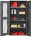 Durham EMDC-362472-4S-95 Ventilated Shelf Cabinet, lockable, 1 fixed shelf and 4 adjustable shelves, punched diamond pattern on both doors for visibility, flush door style, gray