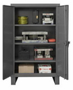 Durham HDC-244866-3S95 Extra Heavy Duty Cabinet, lockable, 1 fixed shelf and 3 adjustable shelves, recessed door style, gray