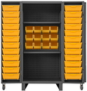 Durham HDC36-24DC24TB2S95 Extra Heavy Duty Cabinet, lockable with 2 adjustable shelves, 12 regular yellow bins and 24 Tilt-Bins, deep door style, gray