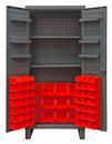 Durham HDC36-60-2S6D1795 Extra Heavy Duty Cabinet, lockable with 2 adjustable shelves and 6 door shelves, 60 red Hook-On-Bins, recessed door style, gray
