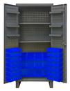 Durham HDC36-60-2S6D5295 Extra Heavy Duty Cabinet, lockable with 2 adjustable shelves and 6 door shelves, 60 blue Hook-On-Bins, recessed door style, gray