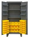 Durham HDC36-60-2S6D95 Extra Heavy Duty Cabinet, lockable with 2 adjustable and 6 door shelves, 60 yellow Hook-On-Bins, recessed door style, gray