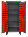 Durham HDC36-96-4S1795 Extra Heavy Duty Cabinet, lockable with 1 fixed shelf and 4 adjustable shelves, 96 red Hook-On-Bins, recessed door style, gray