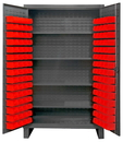 Durham HDC48-120-4S1795 Extra Heavy Duty Cabinet, lockable with 1 fixed shelf and 4 adjustable shelves, 120 red Hook-On-Bins, recessed door style, gray