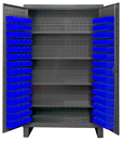 Durham HDC48-120-4S5295 Extra Heavy Duty Cabinet, lockable with 1 fixed shelf and 4 adjustable shelves, 120 blue Hook-On-Bins, recessed door style, gray