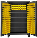 Durham HDC48-144-4S95 Extra Heavy Duty Cabinet, lockable with 1 fixed shelf and 4 adjustable shelves, 144 yellow Hook-On-Bins, recessed door style, gray