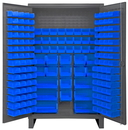 Durham HDC48-162-5295 Extra Heavy Duty Cabinet, lockable with 162 blue Hook-On-Bins, recessed door style, gray