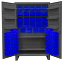 Durham HDC48-84-2S6D5295 Extra Heavy Duty Cabinet, lockable with 1 fixed shelf, 2 adjustable shelves and 6 door shelves, 84 blue Hook-On-Bins, recessed door style, gray