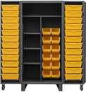 Durham HDJ36-12DC24TB4S95 Extra Heavy Duty Cabinet, lockable, 1 fixed top and bottom shelf with 3 adjustable side shelves, 12 regular yellow bins and 24 Tilt-Bins, deep door style, gray