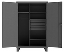 Durham HDWCP244878-4M95 Heavy Duty Cabinet with 4 shelves, 4 drawers, pad-lockable doors with pegboard panels, 3 point locking system, wardrobe with hanging bar and 6