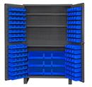 Durham JC-137-3S-5295 Heavy Duty Cabinet, lockable with 3 adjustable shelves, 137 blue Hook-On-Bins, deep door style, gray
