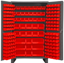 Durham JC-171-1795 Heavy Duty Cabinet, 14 gauge steel, lockable cabinet, with 171 red Hook-On-Bins, flush door style with legs, gray