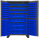 Durham JC-171-5295 Heavy Duty Cabinet, 14 gauge steel, lockable cabinet, with 171 blue Hook-On-Bins, flush door style with legs, gray