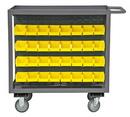 Durham RSC-2436-BLP-64-210-95 Rolling Bin Service Cart 24x36 with 64 PB30210-21 Bins