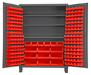 Durham SSC-185-3S-1795 Heavy Duty Cabinet, lockable with 3 adjustable shelves and 185 red Hook-On-Bins, with legs, flush door style, gray