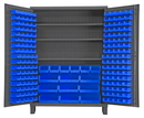 Durham SSC-185-3S-5295 Heavy Duty Cabinet, lockable with 3 adjustable shelves and 185 blue Hook-On-Bins, with legs, flush door style, gray