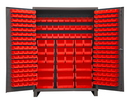 Durham SSC-227-1795 Heavy Duty Cabinet, lockable with 227 red Hook-On-Bins and has legs, flush door style, gray