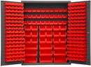 Durham SSC-227-NL-1795 Heavy Duty Cabinet, lockable with 227 red Hook-On-Bins and has no legs, flush door style, gray