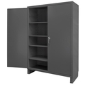Durham SSC-602484-4S-95 Heavy Duty Cabinet, 1 fixed shelf and 4 adjustable shelves, recessed door style, gray