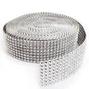 Aspire Silver Diamond Mesh Wrap Roll Rhinestone Crystal Ribbon 1.5
