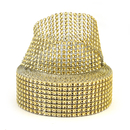 Aspire Gold Diamond Rhinestone Ribbon Wrap Roll, Cake And Party Decoration 8 Rows 1.5
