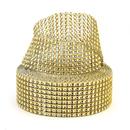 Aspire Gold Diamond Rhinestone Ribbon Wrap Roll, Cake And Party Decoration 8 Rows 1.5