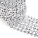 Aspire Silver Ribbon Decorative Mesh Ribbon, Flower Diamond Decorative 10 Yards