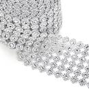 Aspire Silver Ribbon Decorative Mesh Ribbon, Flower Diamond Decorative 10 Yards
