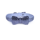 Vanderpump Pets VPDBTC-LG-WH Diamond Bow Tie Collar - White LG 24 in