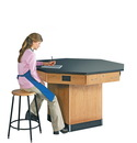 Diversified Woodcrafts 1514KF Octagon Workstation W/ Pedestal Base W/ Flat Top