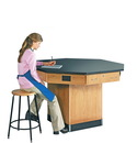 Diversified Woodcrafts 1516KF Octagon Workstation W/ Pedestal Base W/ Flat Top