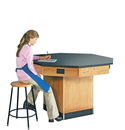 Diversified Woodcrafts 1616KF Octagon Workstation W/ Pedestal Base W/ Flat Top
