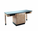 Diversified Woodcrafts C2200K 2 Station Table W/ No Top, Compartment Apron & Door/Drawer C