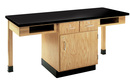 Diversified Woodcrafts C2204K 2 Station Table W/ Phenolic Resin Top, Compartment Apron & Drawer